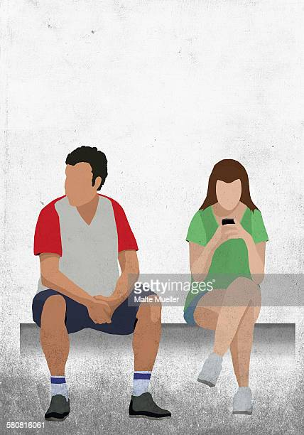 illustrative image of man sitting by woman using mobile phone - boredom stock illustrations