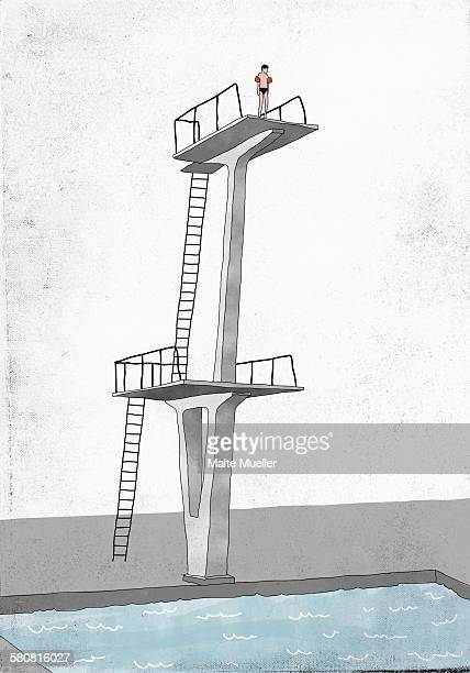illustrative image of man standing on diving board prepares to dive into swimming pool - tall high stock illustrations
