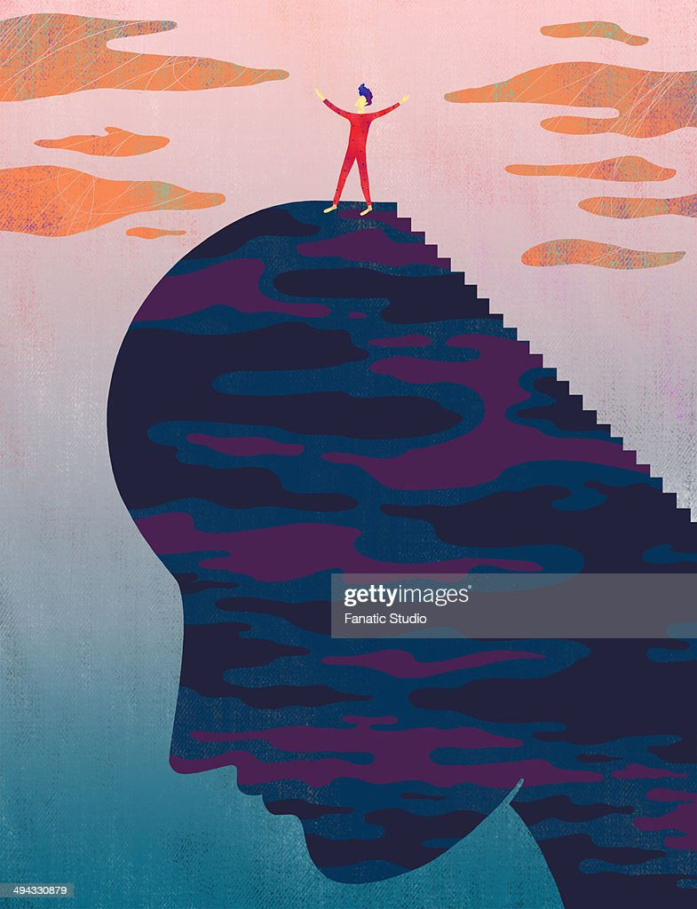 Illustrative image of man standing on head representing success : Stock Illustration