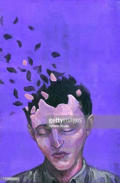 stockillustraties, clipart, cartoons en iconen met illustrative image of man with scattered head representing alzheimer's disease - ziekte van alzheimer
