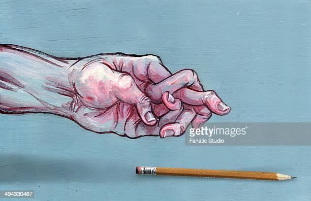 illustrative image of man's hand with jumbled fingers and pen representing arthritis - autoimmunity stock illustrations