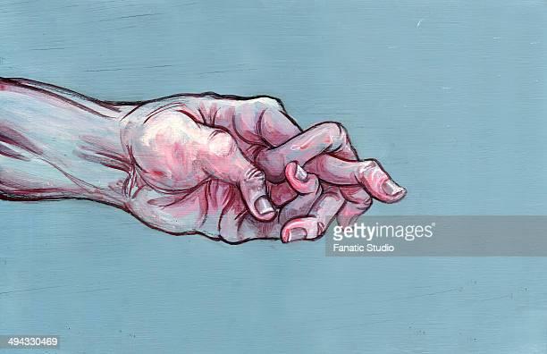 illustrative image of man's hand with jumbled fingers representing arthritis - autoimmunity stock illustrations