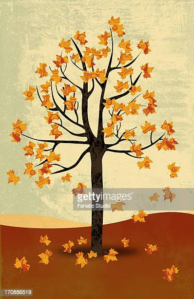 illustrative image of maple tree in autumn representing the concept of recession - menopause stock illustrations, clip art, cartoons, & icons