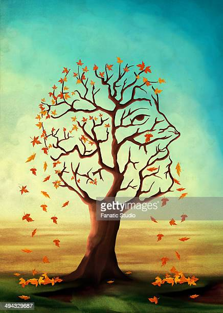 illustrative image of maple tree shedding leaves representing alzheimer's disease - menopause stock illustrations, clip art, cartoons, & icons