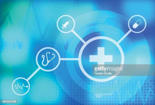 ilustraciones, imágenes clip art, dibujos animados e iconos de stock de illustrative image of medical signs representing healthcare - relief emotion