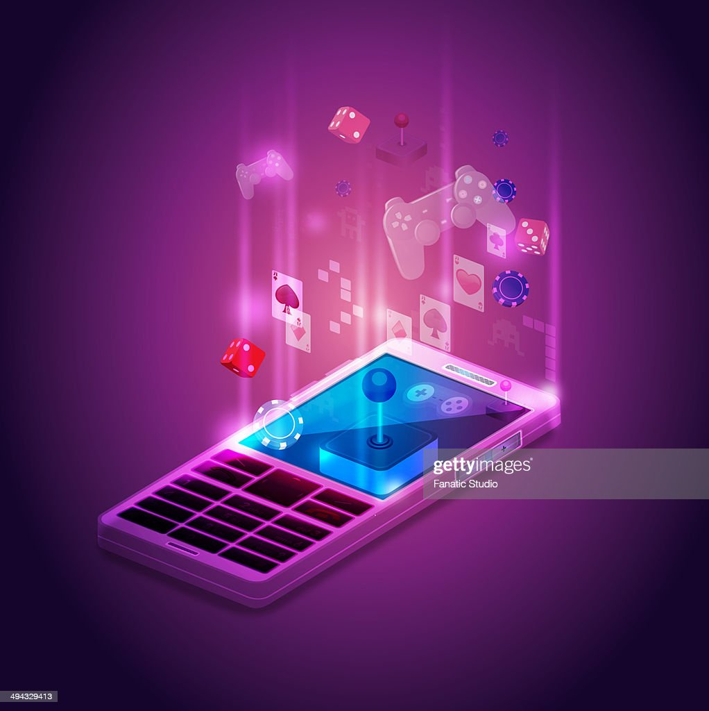 Illustrative image of mobile phone applications : Stock Illustration