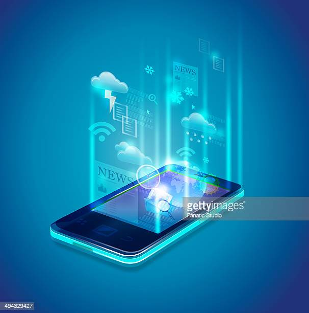 Illustrative image of mobile phone representing news and weather forecast