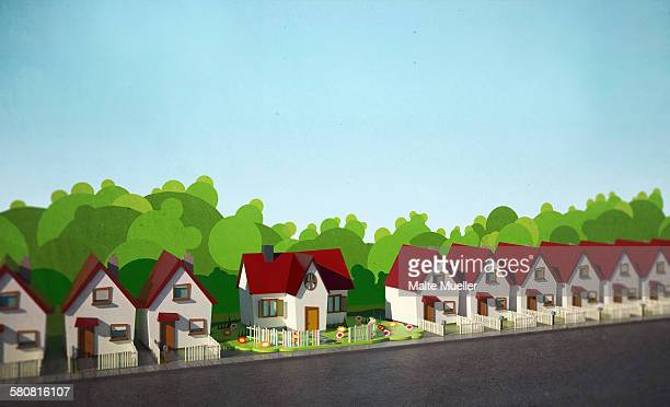 illustrative image of model houses - in a row stock illustrations