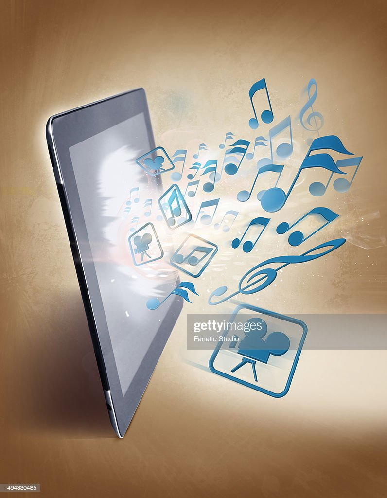 Illustrative image of musical notes and digital table representing uploading and downloading of music : Stock Illustration