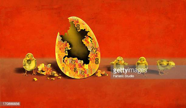 ilustraciones, imágenes clip art, dibujos animados e iconos de stock de illustrative image of newly hatched chicks by eggshell representing investment and profit - charity benefit