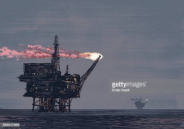 illustrative image of oil rig drilling in ocean - offshore platform stock illustrations, clip art, cartoons, & icons