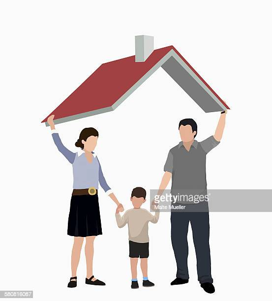illustrative image of parents with son standing under roof representing home ownership - residential building stock illustrations