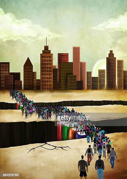 ilustraciones, imágenes clip art, dibujos animados e iconos de stock de illustrative image of people bridging gap - charity benefit