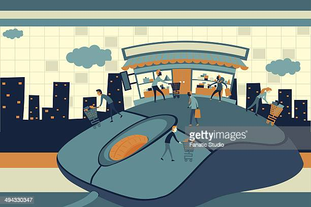 illustrative image of people on top of computer mouse representing online shopping - online advertising stock illustrations, clip art, cartoons, & icons