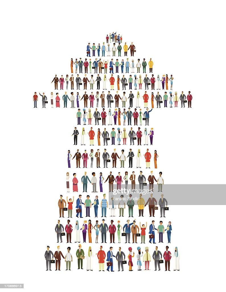Illustrative image of people standing in arrow shape representing development and teamwork over white background : stock illustration