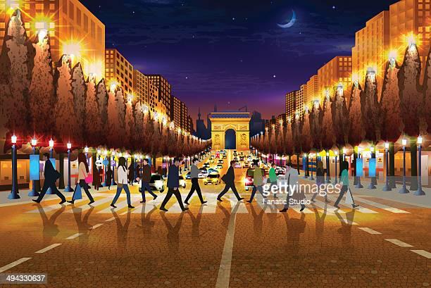 illustrative image of people walking on zebra crossing arc de triomphe in background at paris, france - promenade stock illustrations, clip art, cartoons, & icons