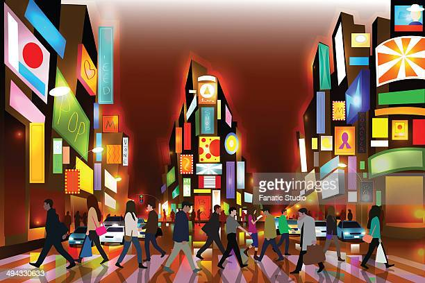 illustrative image of people walking on zebra crossing with illuminated buildings representing times square in new york city at night - zebra crossing stock illustrations