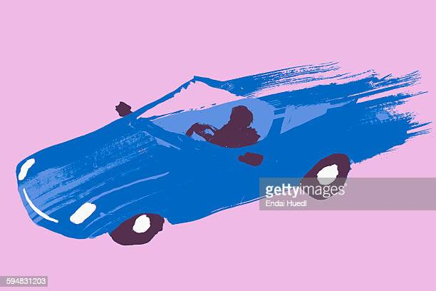 illustrative image of person driving blue sports car against purple background - journey stock illustrations