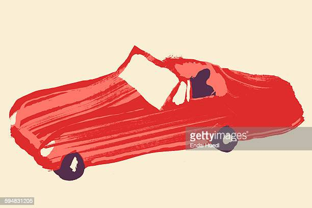 Illustrative image of person driving red sports car against white background