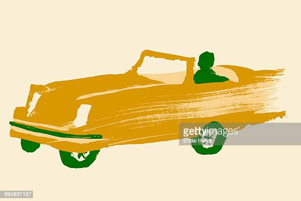 illustrative image of person driving sports car against white background - studio shot stock illustrations, clip art, cartoons, & icons