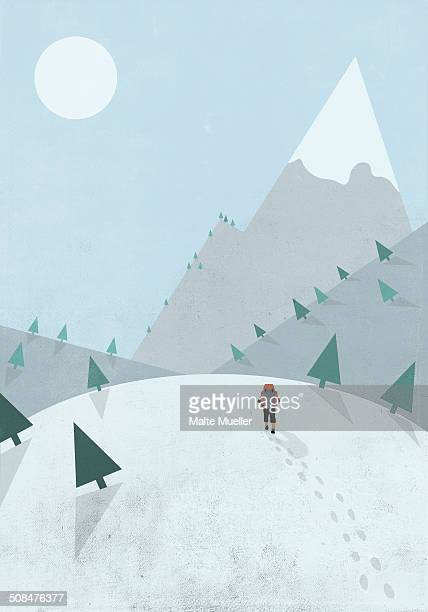 illustrative image of person mountain climbing during winter - rear view stock illustrations