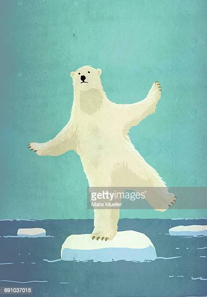illustrative image of polar bear balancing on iceberg in sea representing global warming - head above water stock illustrations