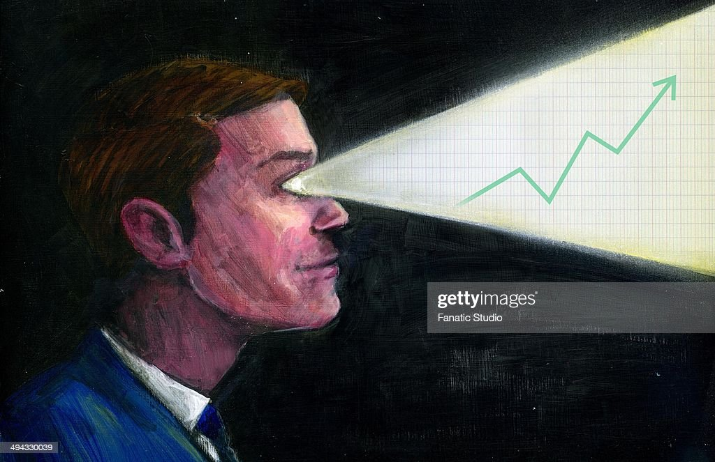 Illustrative image of progressive graph coming out through businessman's eyes representing leader's vision : Stock Illustration