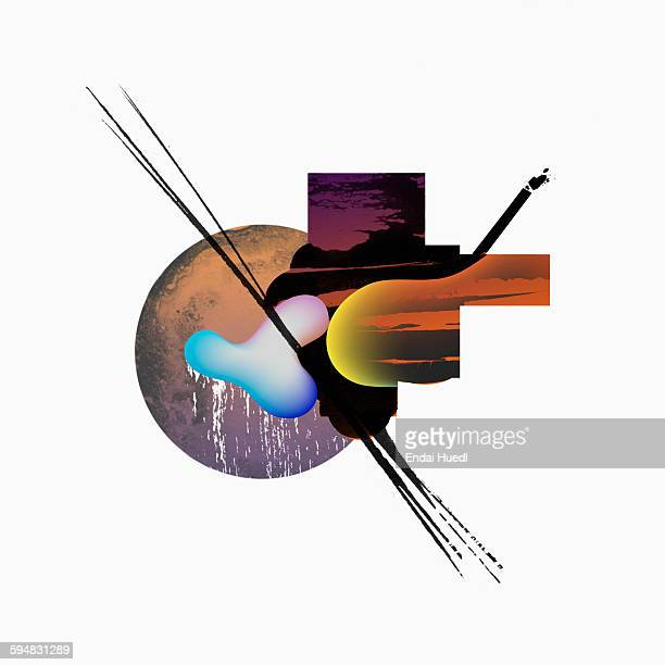 Illustrative image of rain during sunset against white background