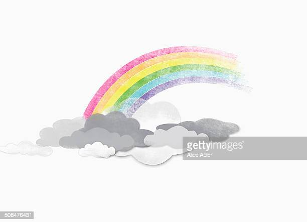 illustrations, cliparts, dessins animés et icônes de illustrative image of rainbow in clouds - espoir