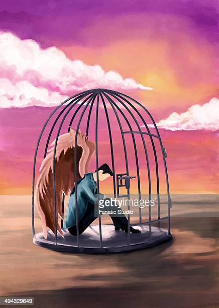 illustrations, cliparts, dessins animés et icônes de illustrative image of sad businessman sitting in cage representing bondage - sado maso