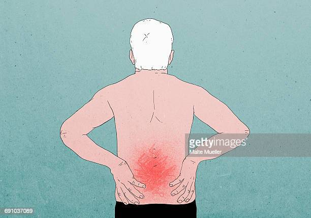 Illustrative image of shirtless man suffering from backache against colored background
