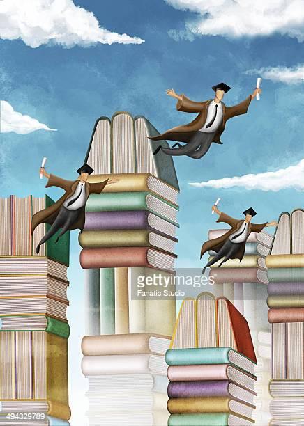 ilustraciones, imágenes clip art, dibujos animados e iconos de stock de illustrative image of stacked books and flying students representing graduation day - libros volando