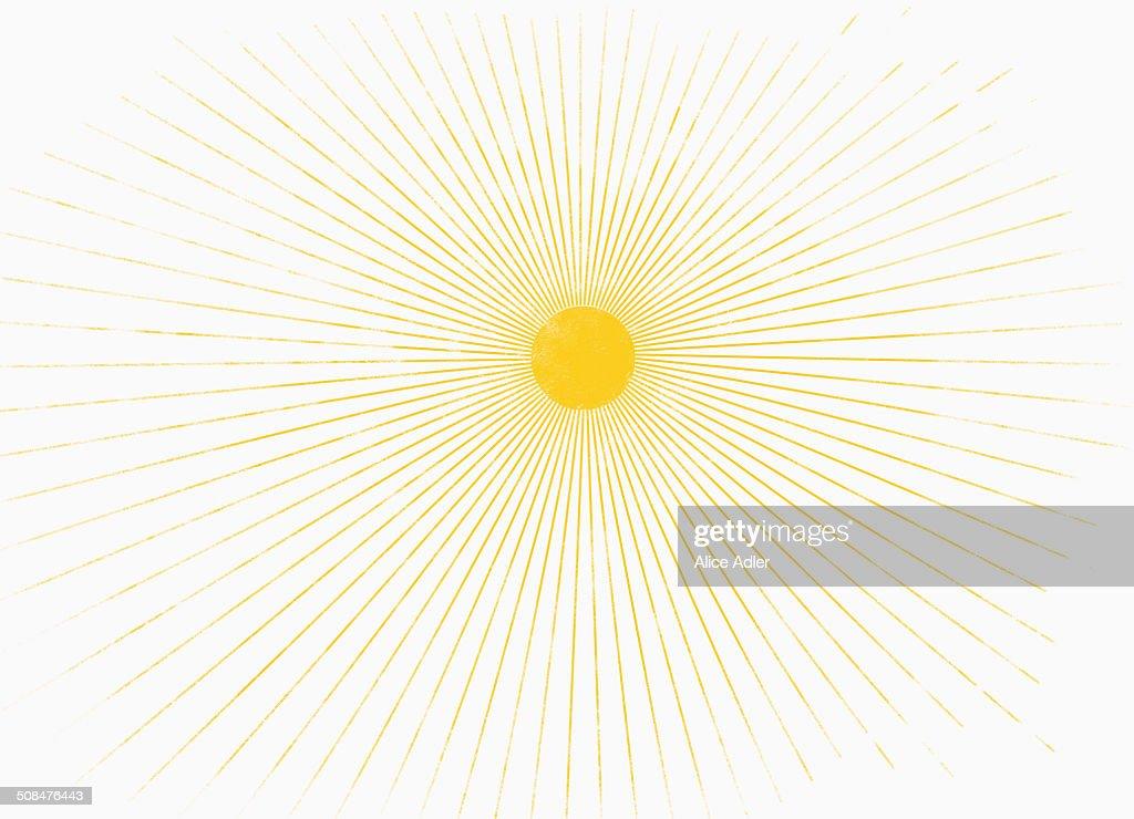 Illustrative image of sun shining against white background : Stockillustraties