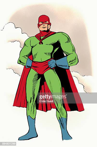 illustrative image of superhero with hands on hip standing against sky - heroes stock illustrations