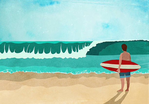 Illustrative image of surfboarder standing on beach