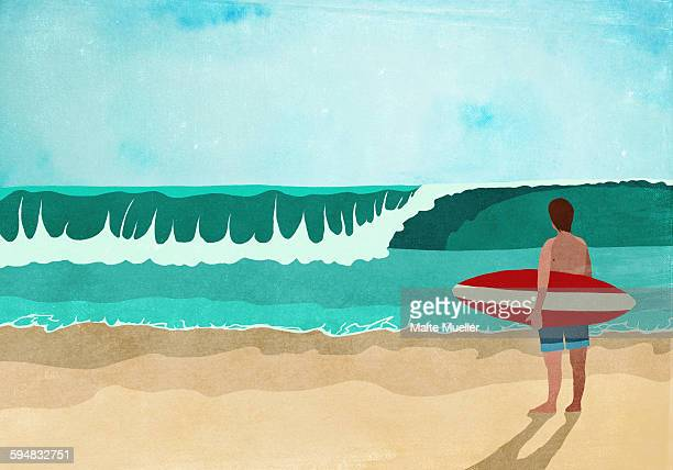 illustrative image of surfboarder standing on beach - 2015 stock illustrations