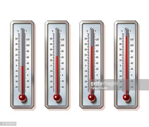 ilustraciones, imágenes clip art, dibujos animados e iconos de stock de illustrative image of thermometers showing rising temperatures over white background representing global warming - termometro mercurio