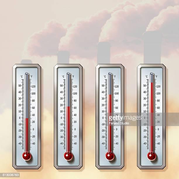 ilustraciones, imágenes clip art, dibujos animados e iconos de stock de illustrative image of thermometers showing rising temperatures with smoke emitting from chimneys representing global warming - termometro mercurio