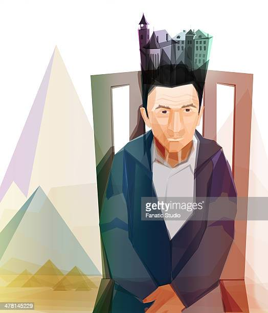 illustrative image of thoughtful senior man with property on head representing legacy - legacy stock illustrations, clip art, cartoons, & icons