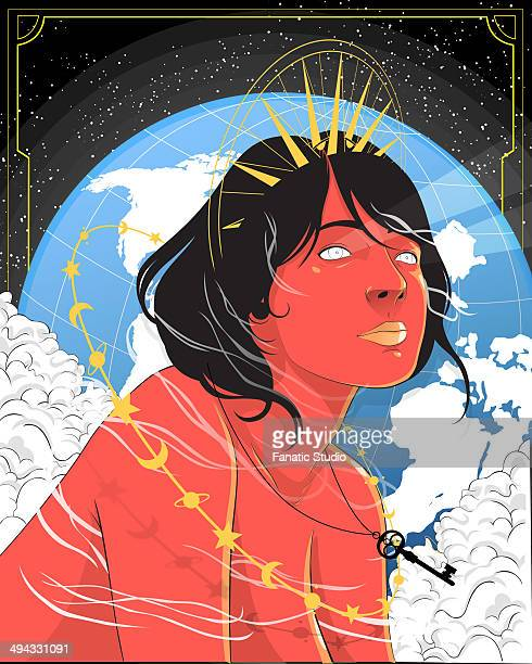 illustrative image of thoughtful young woman with planet earth in background representing desire for travel - desire stock illustrations