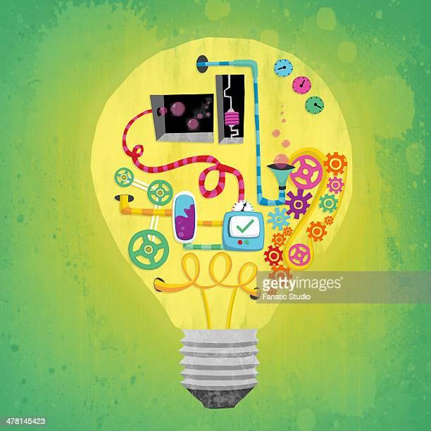 stockillustraties, clipart, cartoons en iconen met illustrative image of various connections in bulb representing ideas and business mechanism - geval
