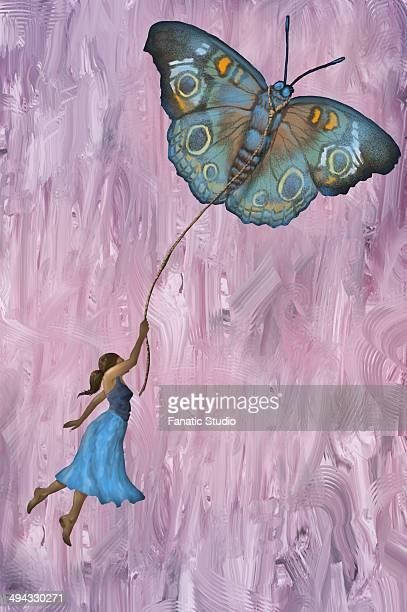 illustrazioni stock, clip art, cartoni animati e icone di tendenza di illustrative image of woman flying with butterfly representing aspirations - libertà