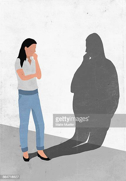 illustrations, cliparts, dessins animés et icônes de illustrative image of woman looking at her fat shadow on wall representing worry for obesity - femme grosse