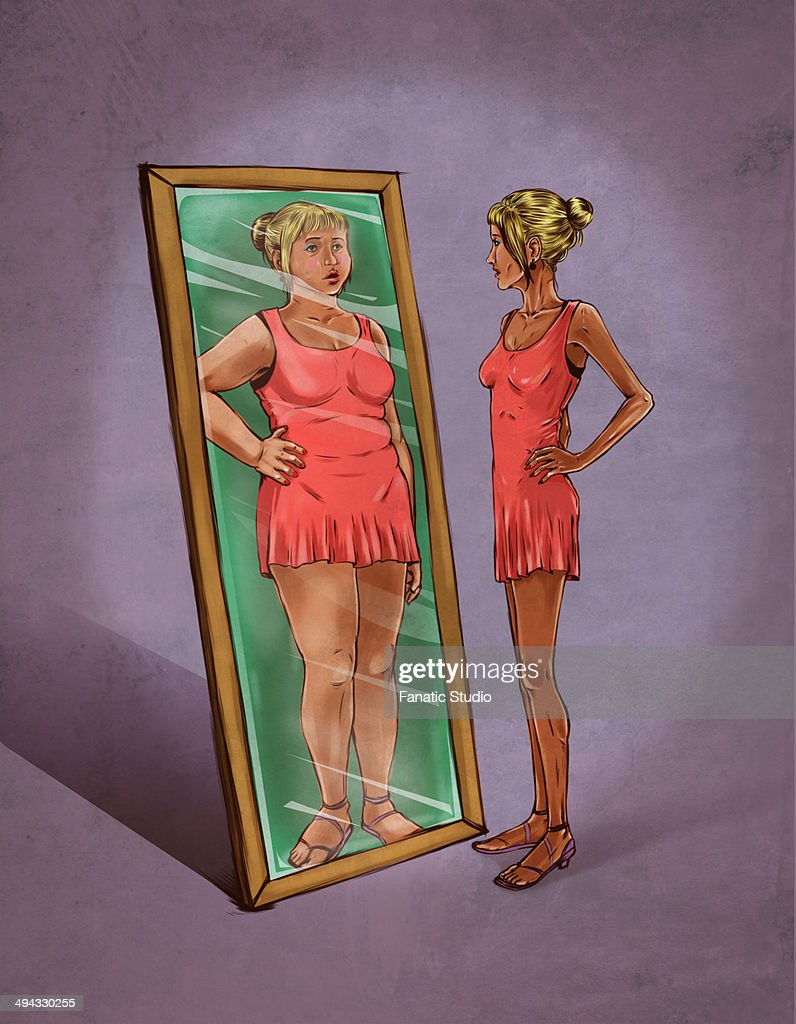 Illustrative image of woman looking in mirror sees herself as overweight representing eating disorder : Stock Illustration