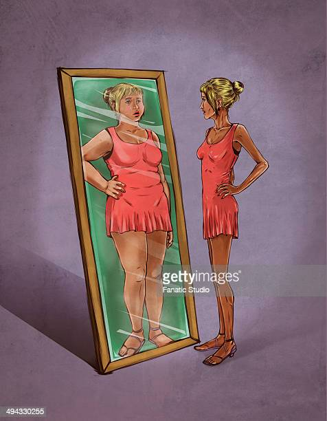 illustrative image of woman looking in mirror sees herself as overweight representing eating disorder - body conscious stock illustrations, clip art, cartoons, & icons
