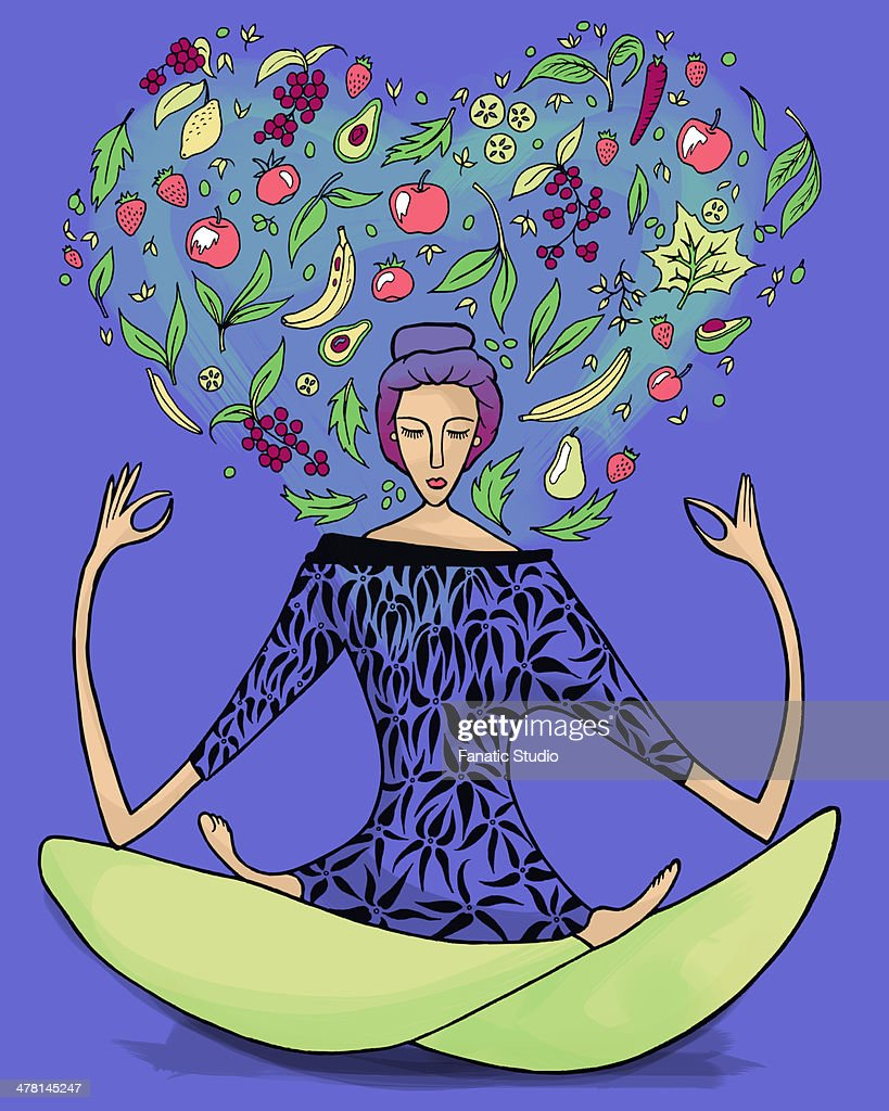 Illustrative image of woman performing yoga exercise with fruits and vegetables against blue background : stock illustration