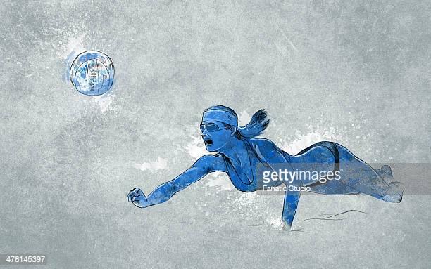 ilustraciones, imágenes clip art, dibujos animados e iconos de stock de illustrative image of woman playing beach volleyball - vóleibol de playa
