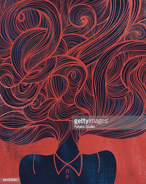 Illustrative image of woman with tangled hair representing confusion