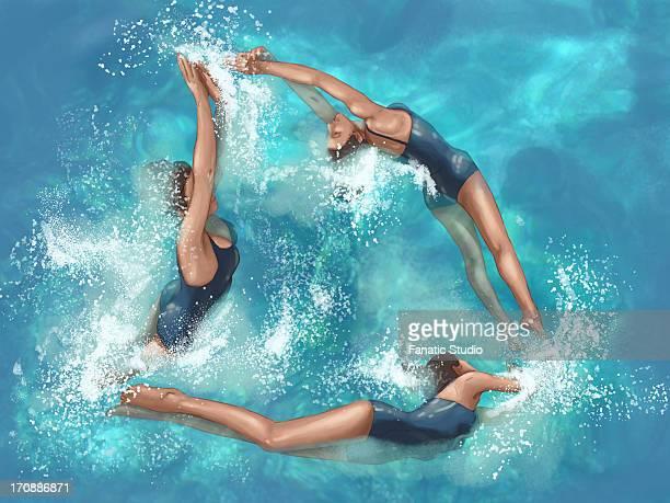 illustrative image of women performing aerobics during circus act - water aerobics stock illustrations, clip art, cartoons, & icons