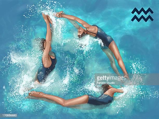 illustrative image of women performing aerobics representing aquarius sign - water aerobics stock illustrations, clip art, cartoons, & icons